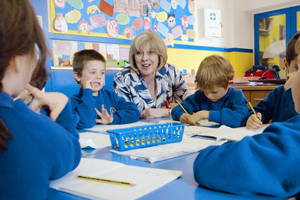 Theresa May at White Waltham school