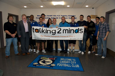 Simon Weston, T2M Patron, with Cardiff FC