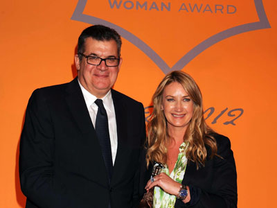 Anna Hindmarch and Veuve Clicquot President Jean-Marc Lecave